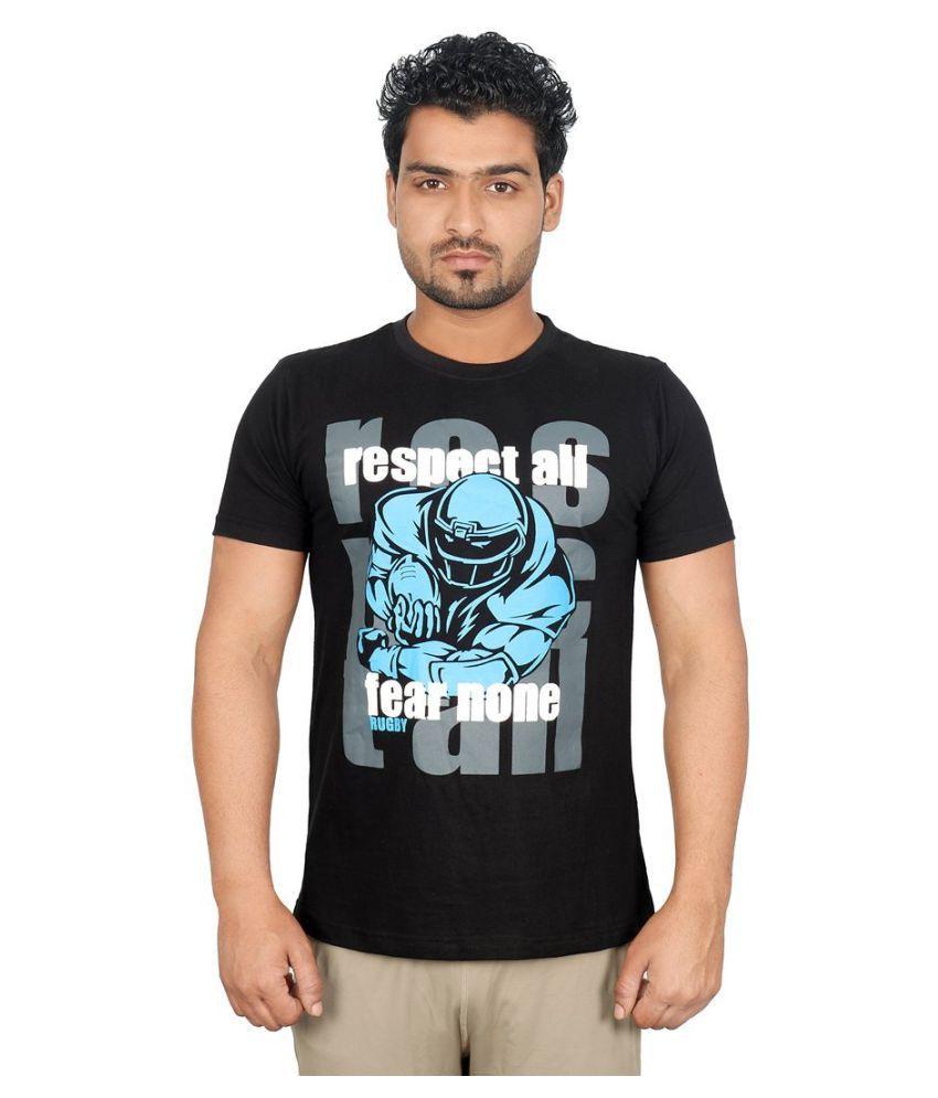Vector X VTC-003-A Men's Round Neck Black Cotton T-Shirt
