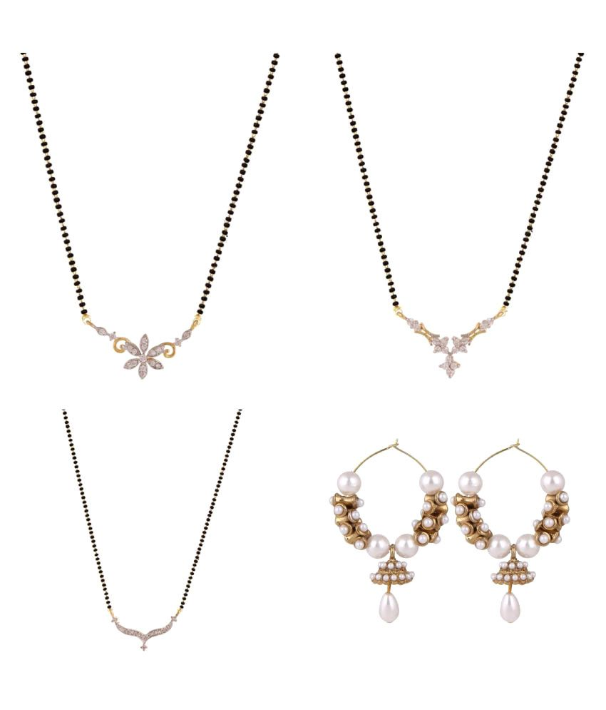 Archi Collection Combo of CZ Mangalsutra and Trendy Earring For Women