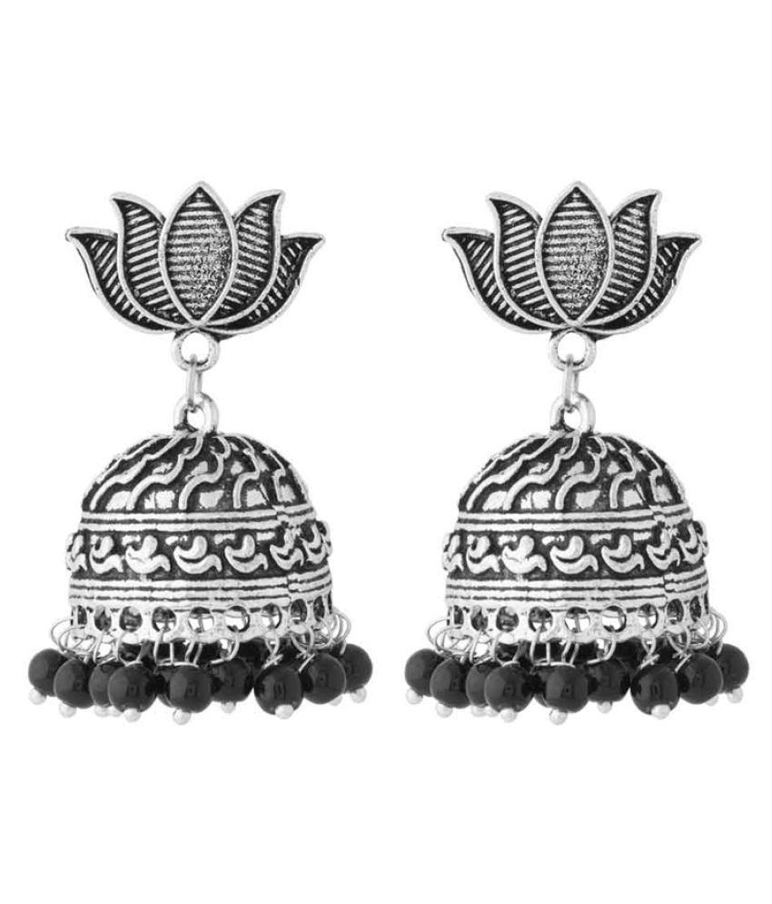 Voylla Jhumki Earrings with Lotus Motif Base for Women