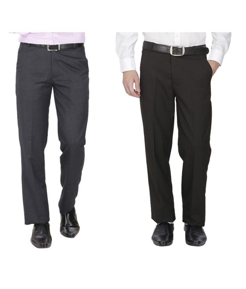 Fizzaro Black Regular Flat Trousers