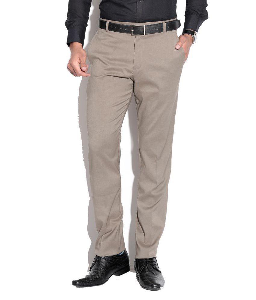 Fizzaro Beige Regular Flat Trousers
