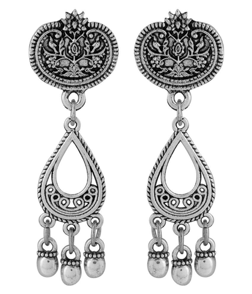 52ebe1a9a Voylla Oxidised Silver Stylish Hangings Earrings For Women - Buy Voylla Oxidised  Silver Stylish Hangings Earrings For Women Online at Best Prices in India  ...