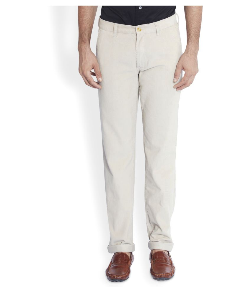 Colorplus Off White Regular Flat Trousers