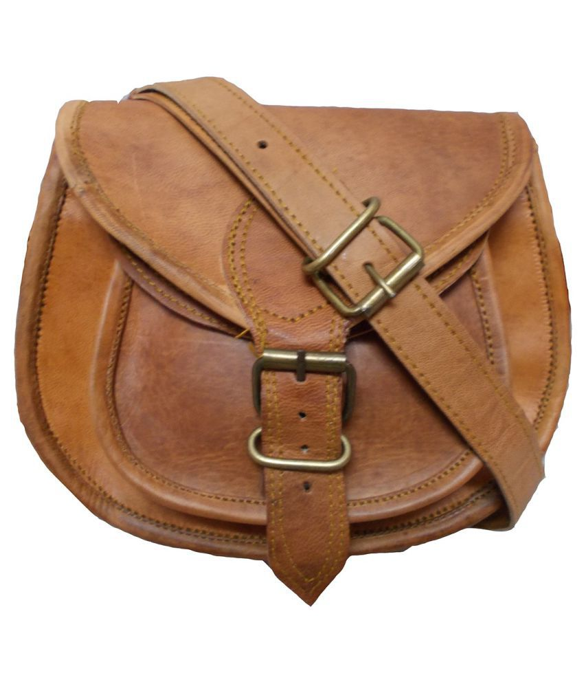 Gaurav Brown Pure Leather Sling Bag