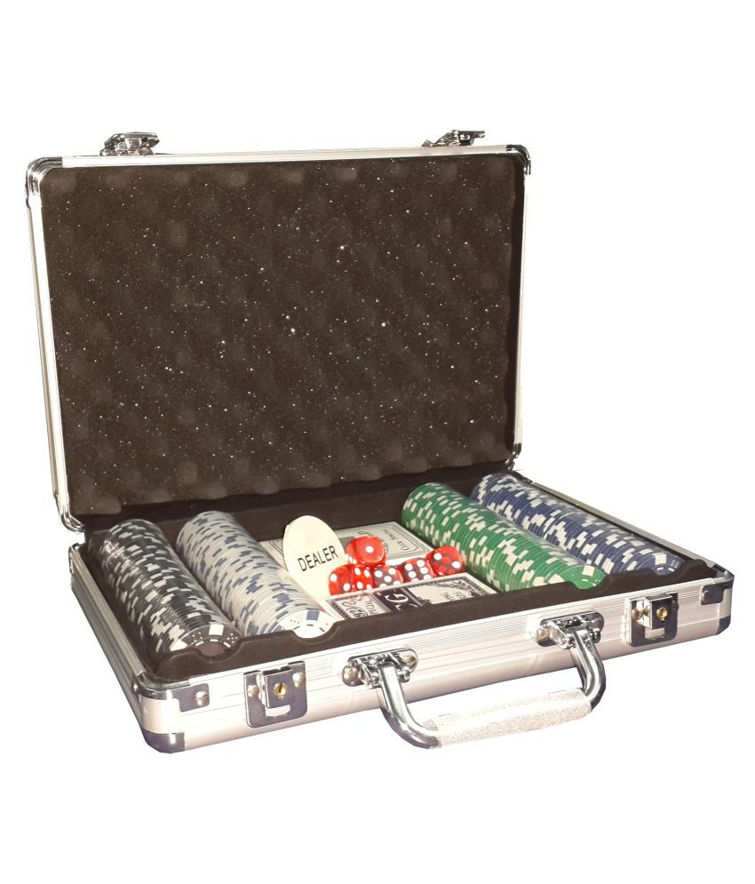 ShopMeFast 200 Pcs Poker Chip Game Set Toy in Silver Aluminium Case