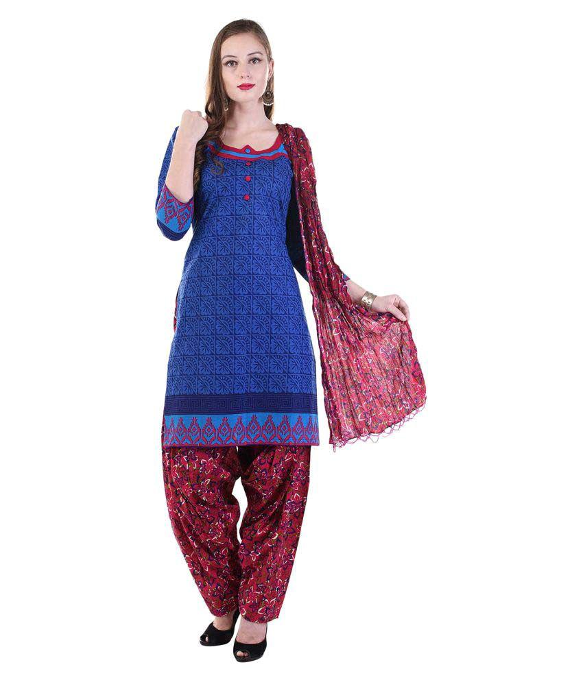 Aavaya Fashion Blue Cotton Straight Stitched Suit