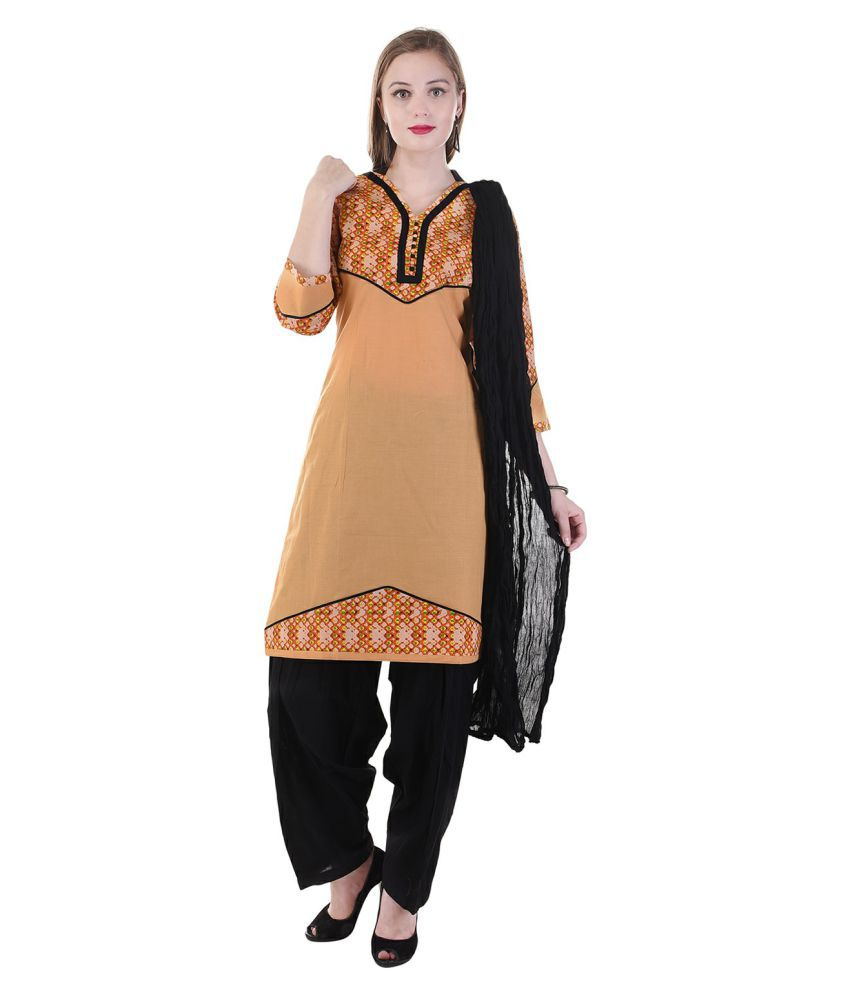 Aavaya Fashion Beige Cotton Straight Stitched Suit