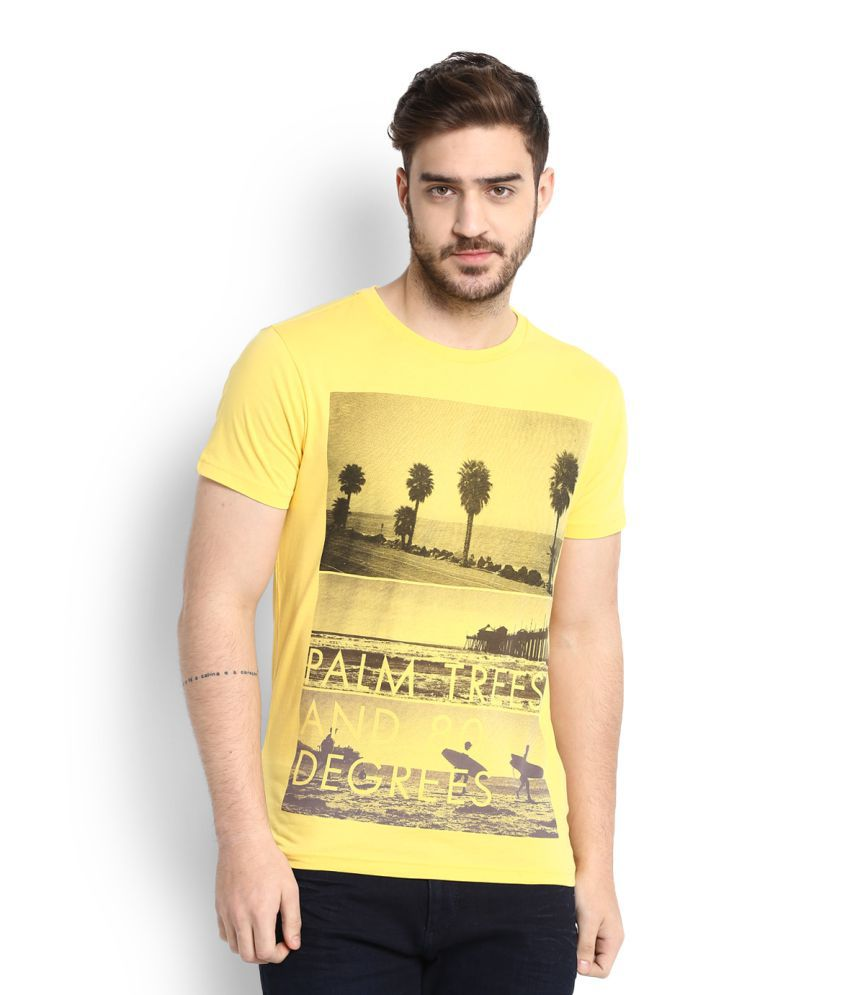 Allen Solly Yellow Round Neck T-Shirt