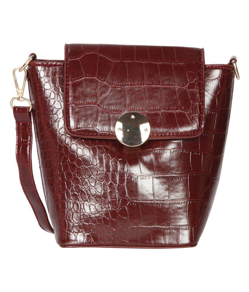 Bagkok Maroon P.U. Sling Bag