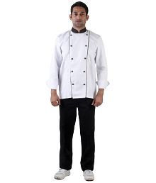 FNbfleet Chef Coat With Black Collar And Black Piping White Color -M Size