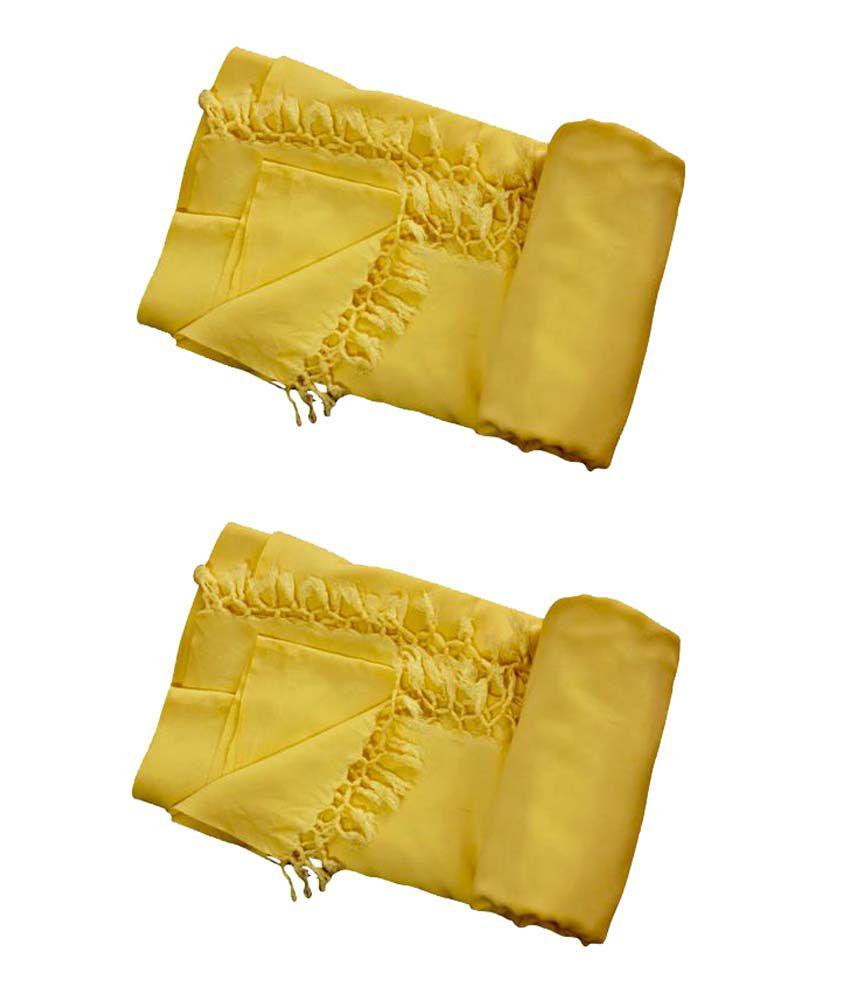 Bhagalpuri Single Viscose Yellow Plain Top Sheet Set of 2