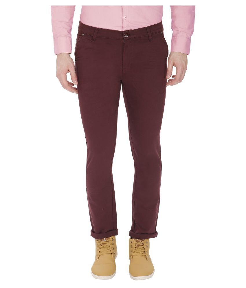 Gradely Maroon Slim Flat Trousers