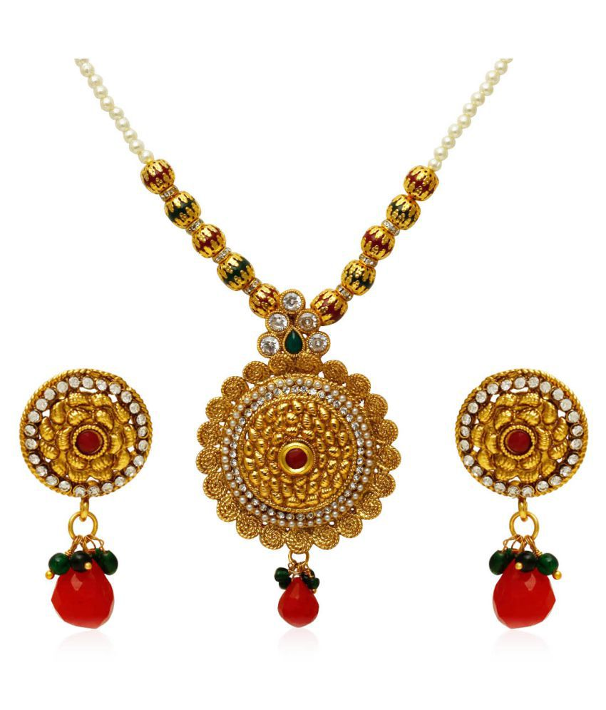 Jewels Galaxy Exclusive Gold Plated Traditional Ruby & Pearl Necklace Set