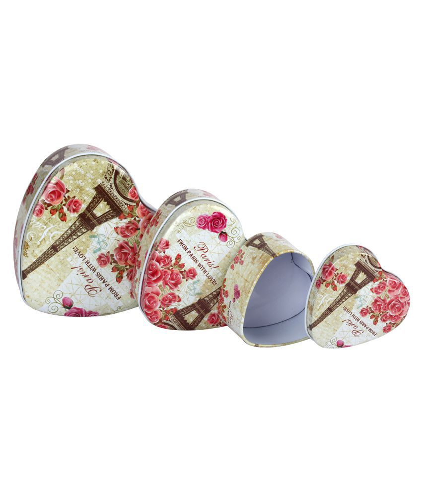 STRIPES Durable Set of 3 Eiffel Tower Print Design Multi Colour Heart Shape Metal  Gift Box/ utility box / Jewellery Box/Wedding Gift Box/Casual Gift Box