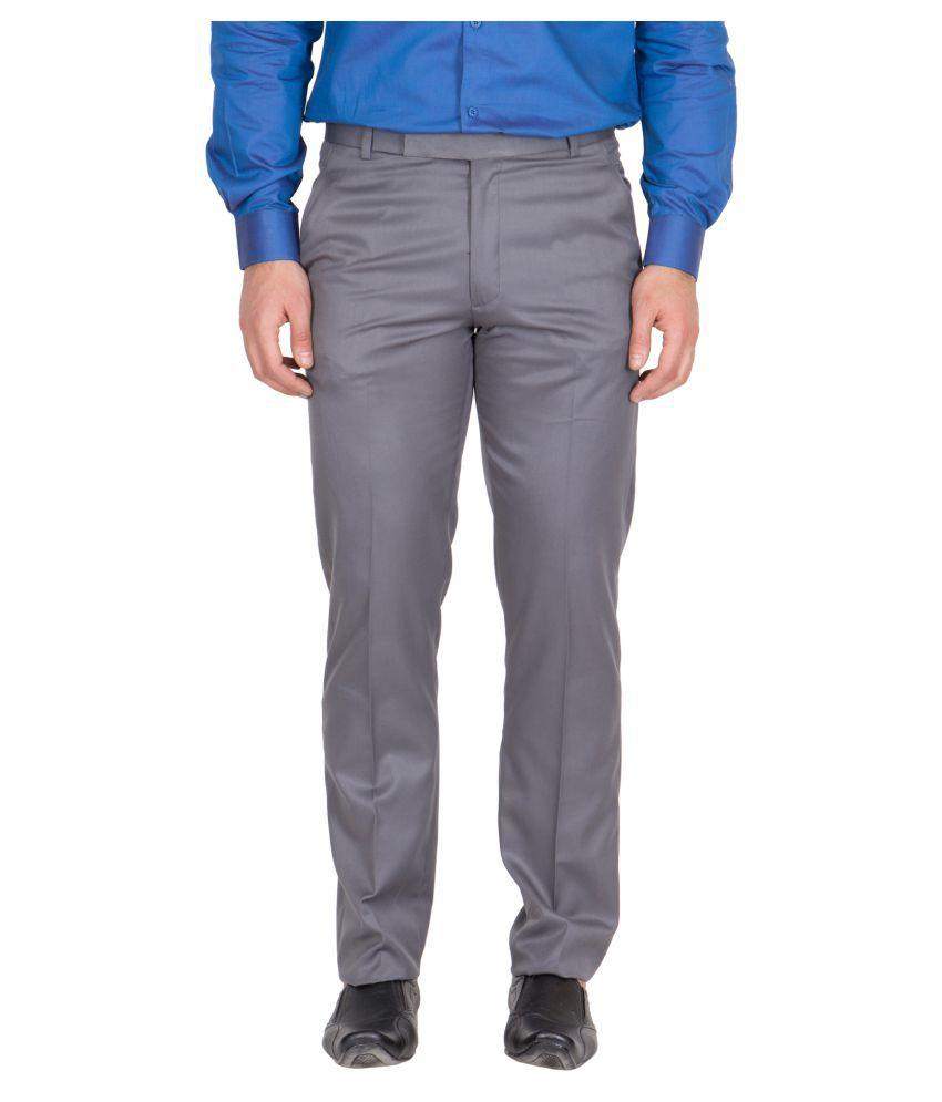 American-Elm Grey Regular Flat Trousers