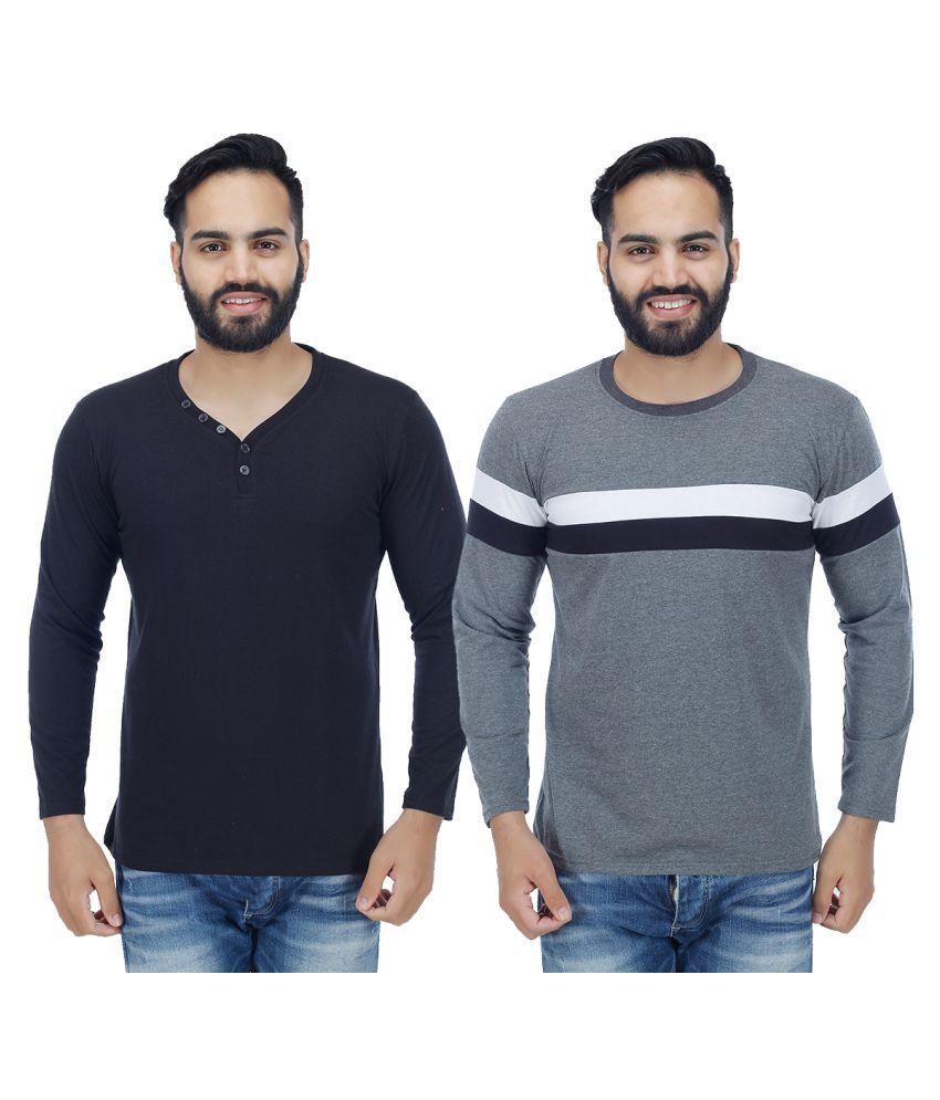 Sanvi Traders Multi V-Neck T-Shirt Pack of 2