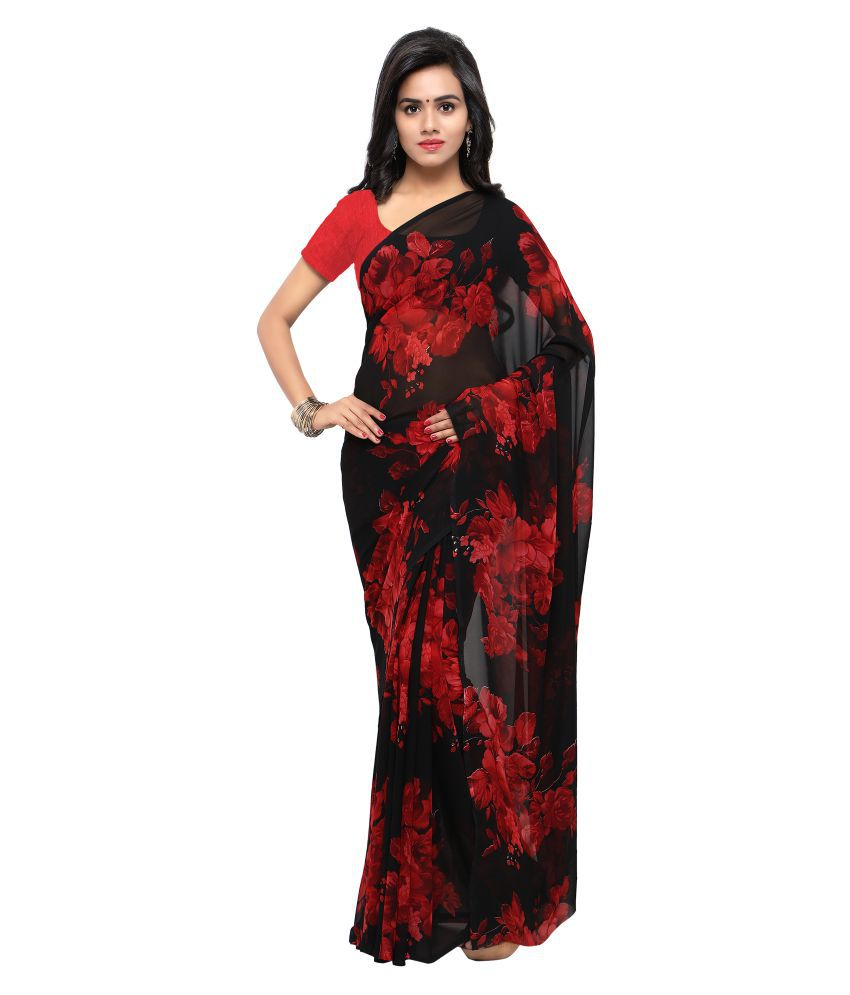 Four Seasons Red and Brown Georgette Saree