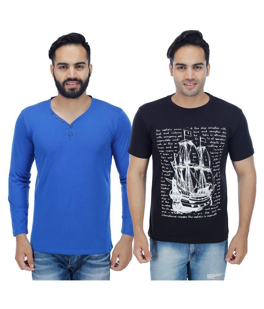 Sanvi Traders Multi Henley T-Shirt Pack of 2