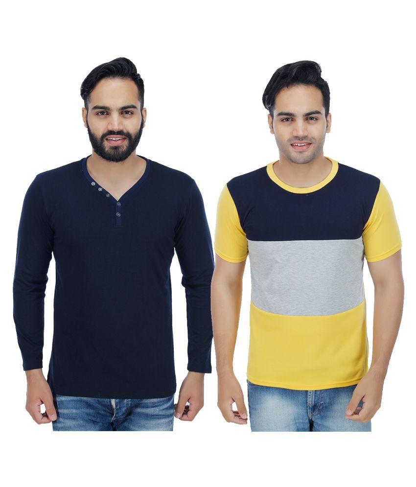 Sanvi Traders Multi Round T-Shirt Pack of 2