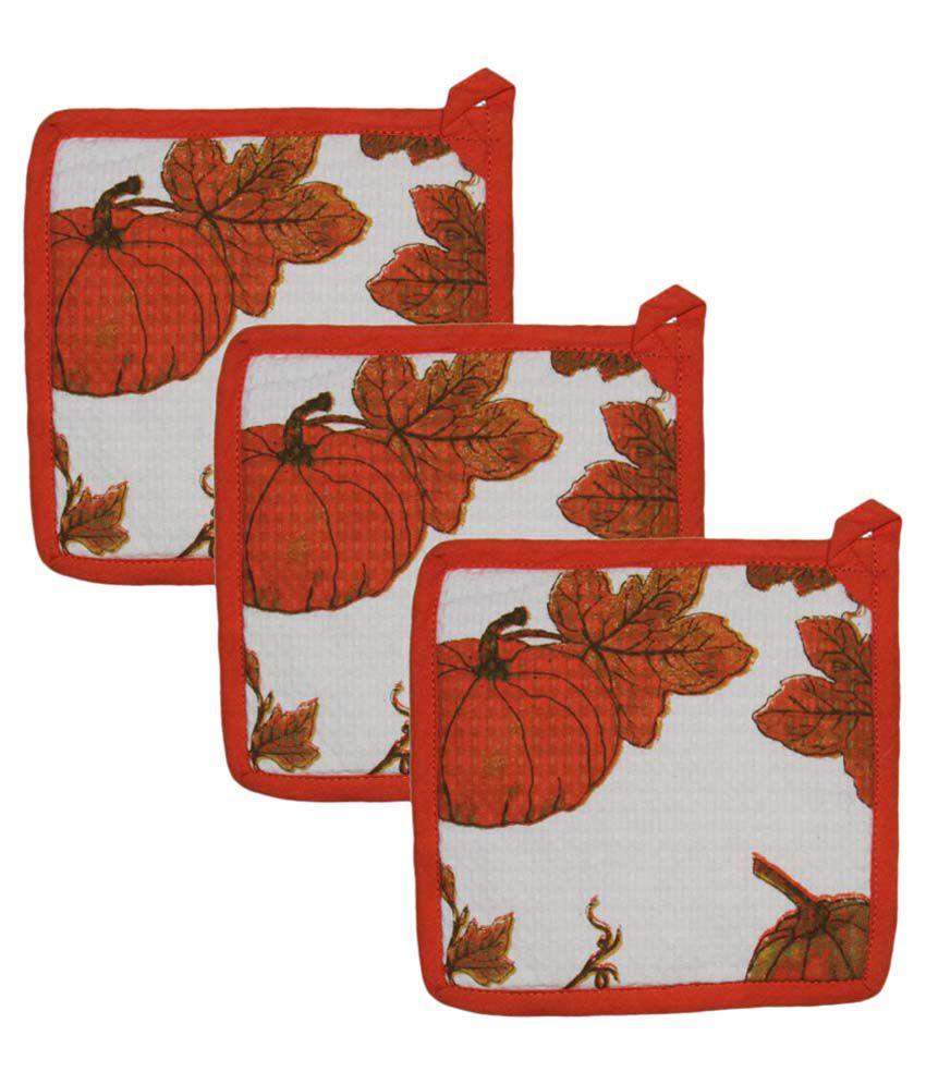 Airwill, Cotton Designer Kitchen Linen Set of Oven Pot Holders - Pack of 3