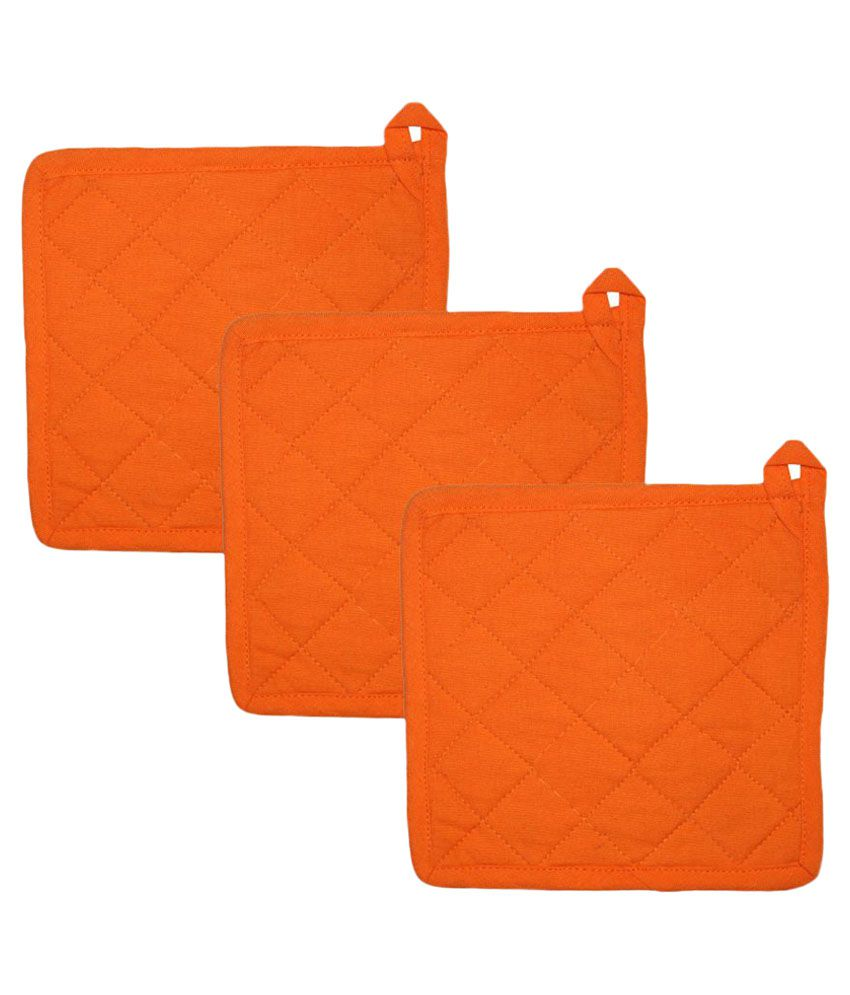 Airwill Orange Cotton Oven Pot Holders - Pack of 3