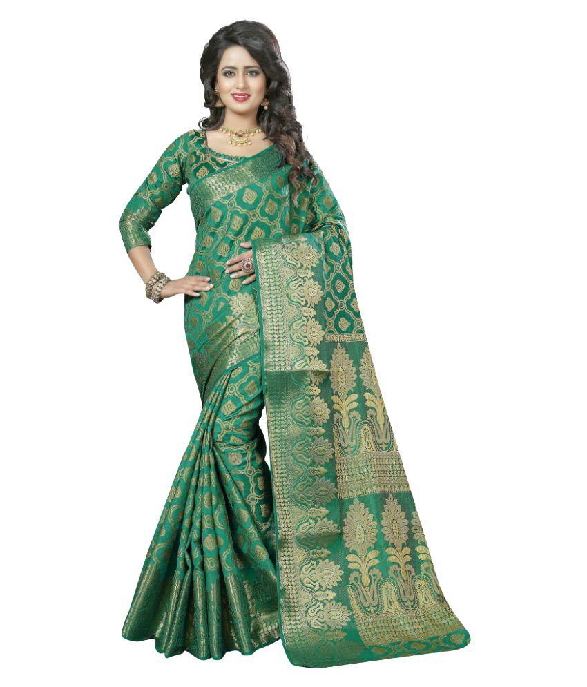 Aagaman Fashions Green Art Silk Saree