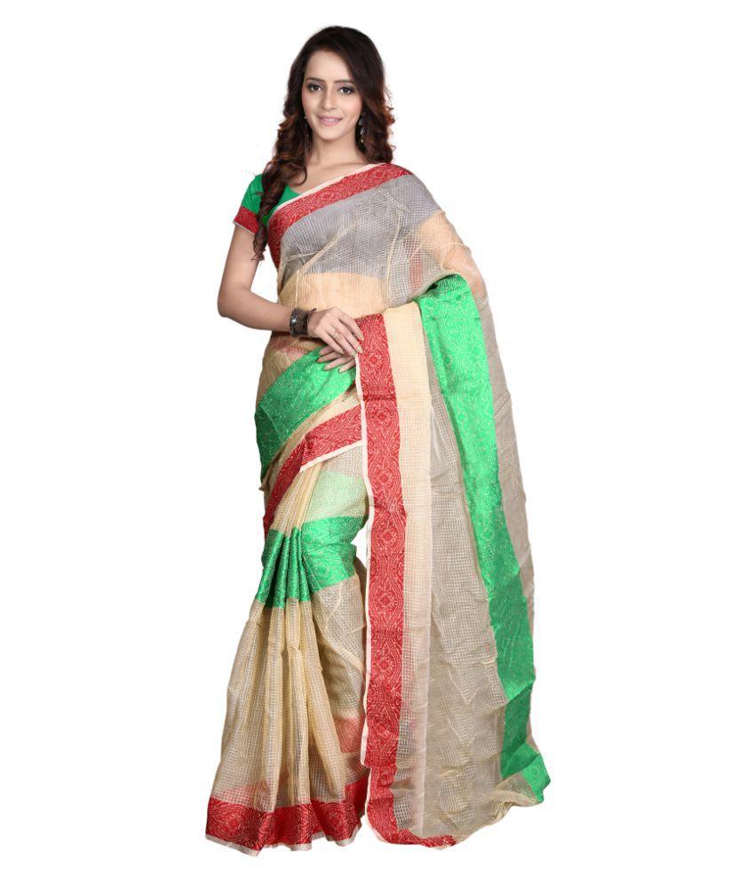 Aagaman Fashions White Art Silk Saree