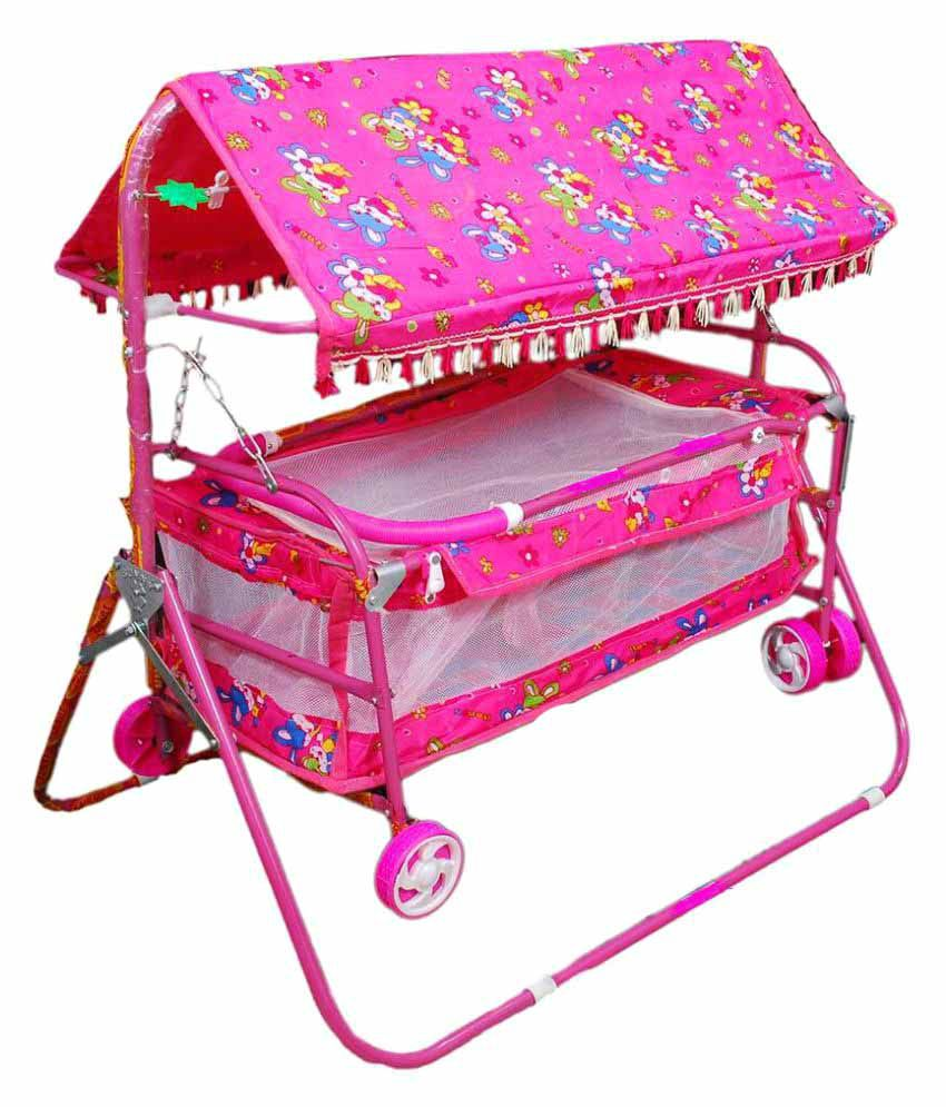 Shivaay Trading Co. Pink Baby Cradle Cum Cot Cum Bassinet With Hood