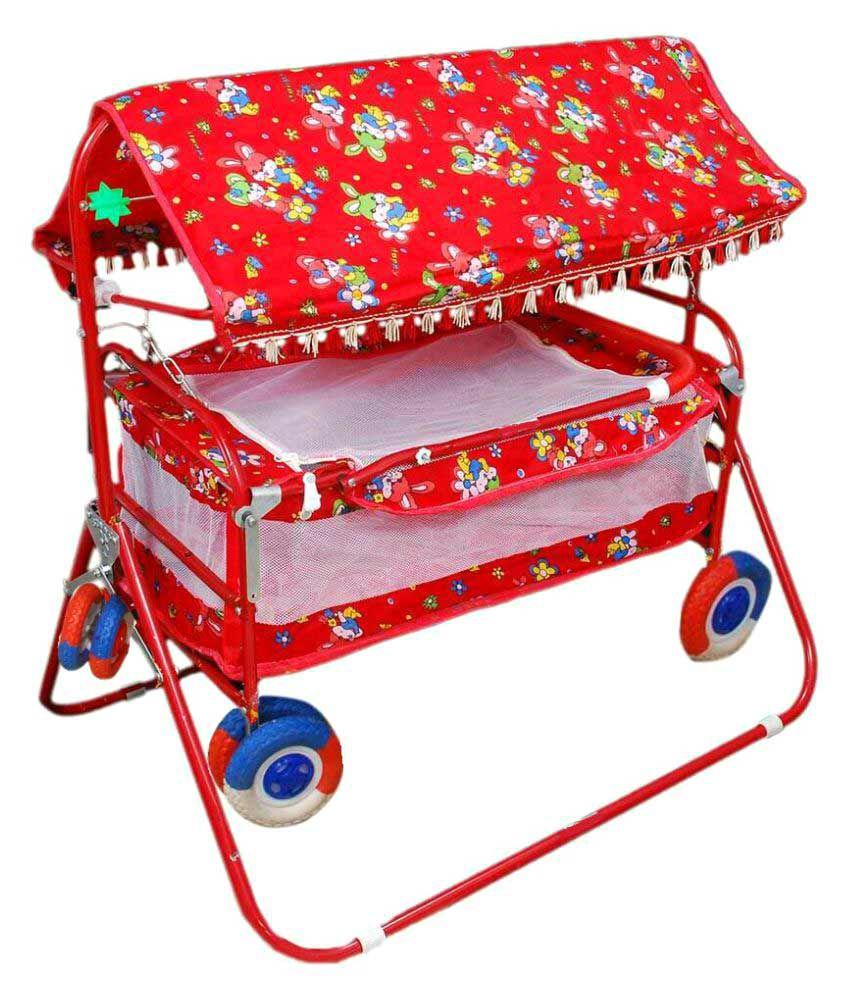 Shivaay Trading Eva Wheel Red Baby Cradle Cum Cot Cum Stroller With Hood