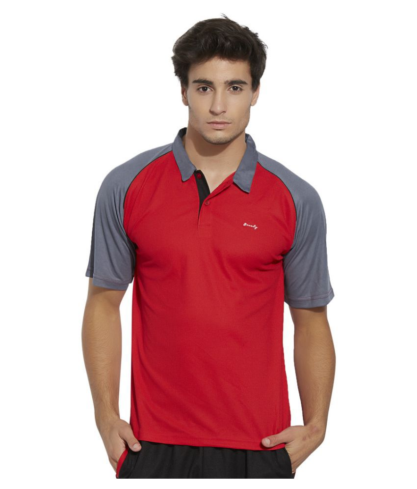 Bonaty Red Polyester Polo T-Shirt