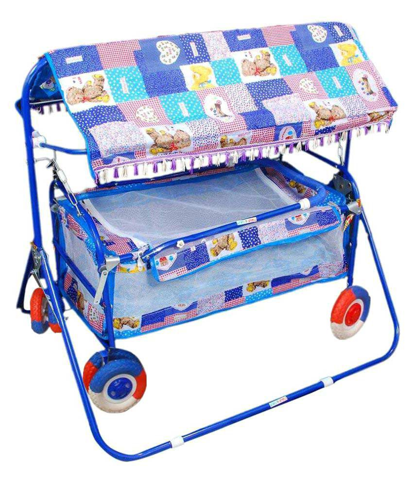 Shivaay Trading Blue Baby Cradle Cum Cot Cum Bassinet With Hood