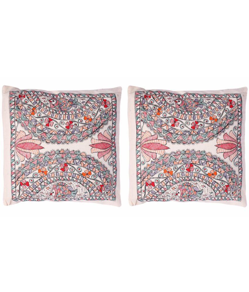 iMithila Set of 2 Cotton Cushion Covers 40X40 cm (16X16)