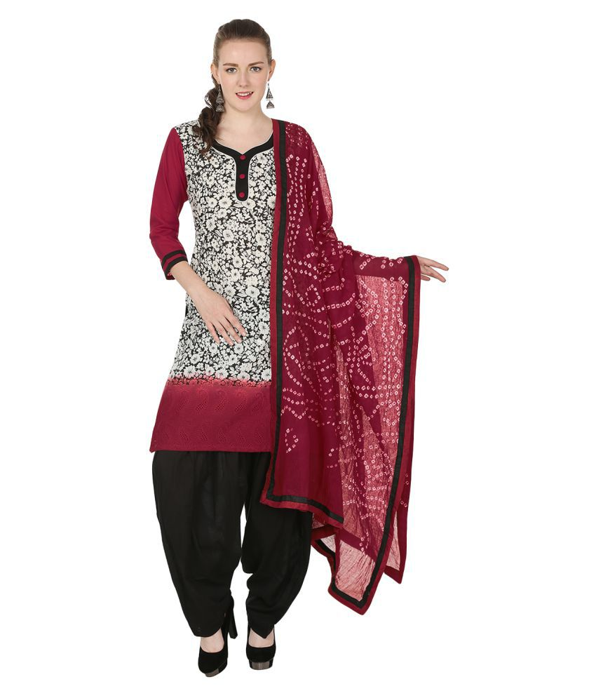 Aavaya Fashion Multicoloured Cotton Straight Stitched Suit