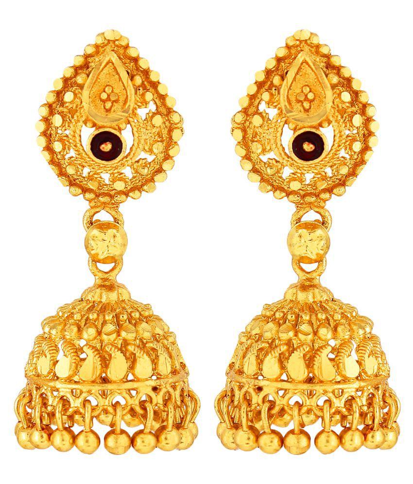 GoldNera Gold Plated Stylish Jhumki Earrings Bollywood Style