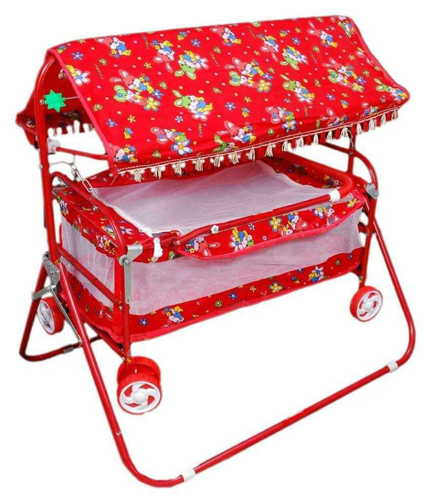 Shivaay Trading Co. Red Baby Bassinet Cum Cradle with Hood