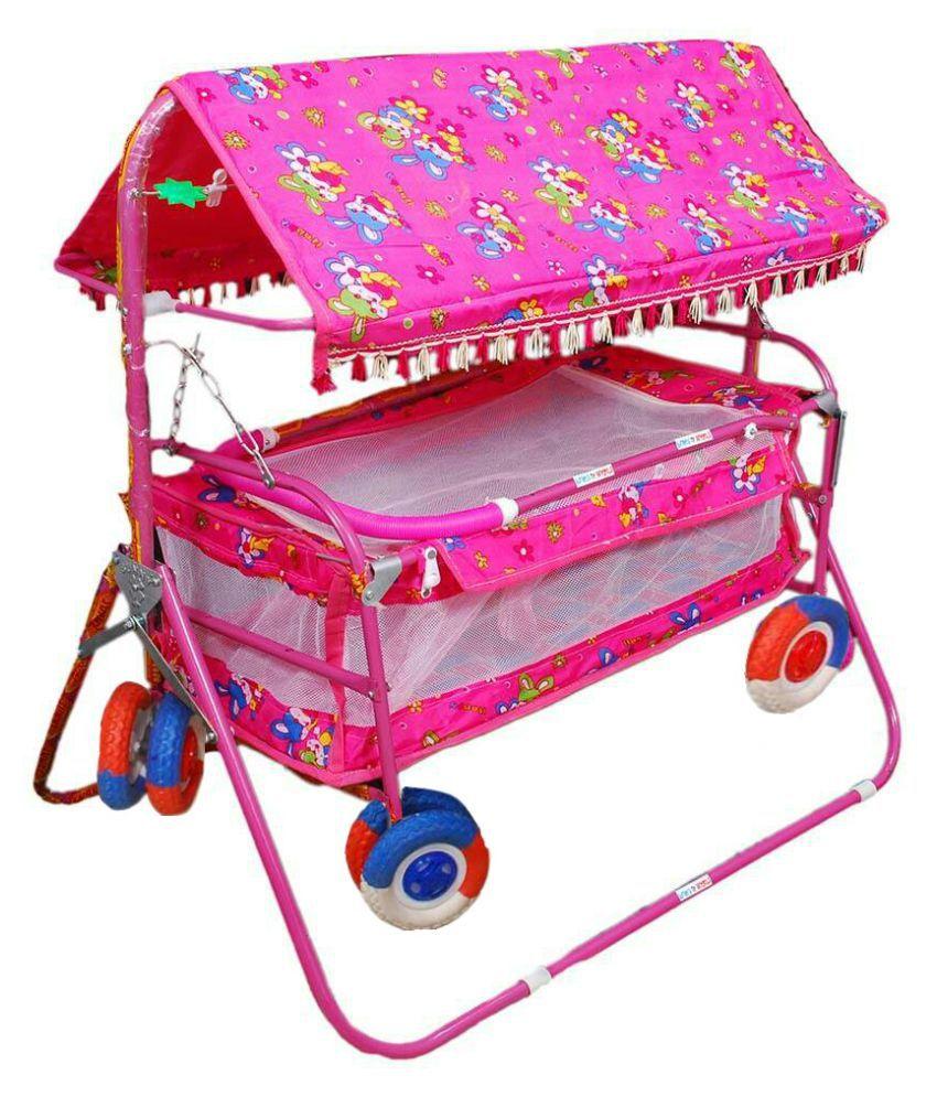 Shivaay Trading Co. Eva Wheel Pink Baby Bassinet Cradle Cum Cot Cum Stroller With Hood