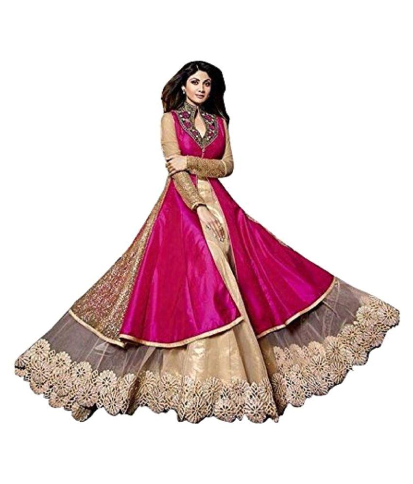 Amazia Style Pink Bangalore Silk Anarkali Gown Semi-Stitched Suit