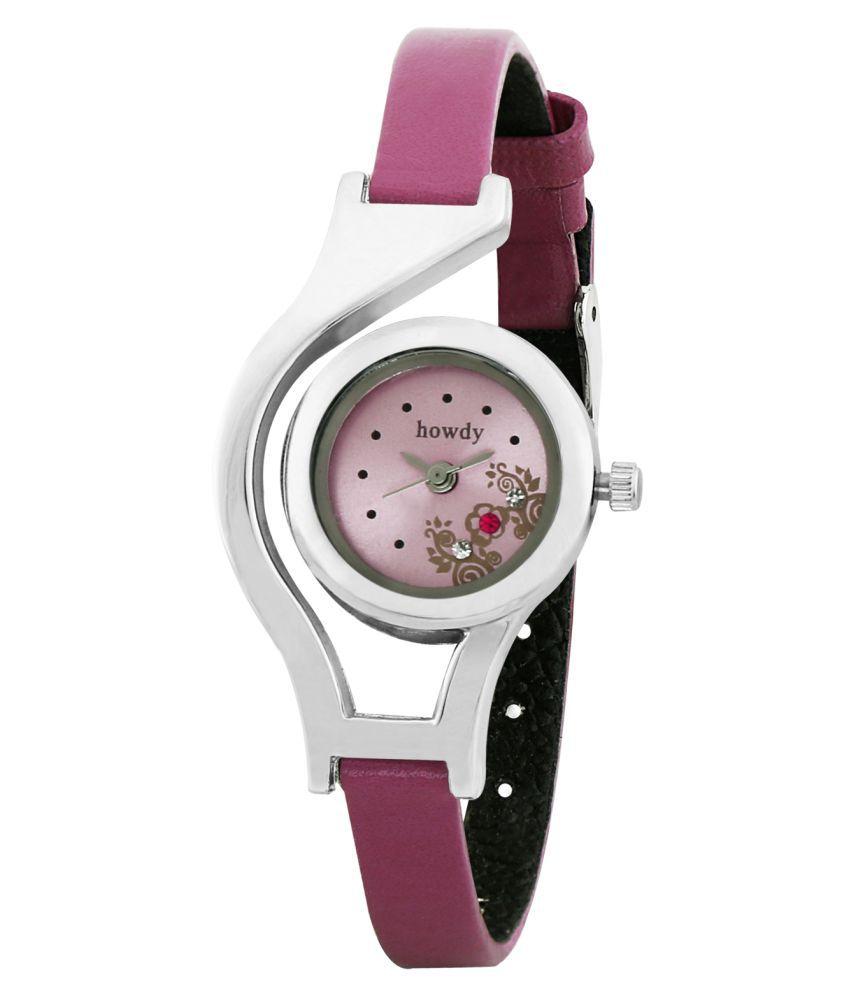 Howdy Pink PU Strap Analog Watch