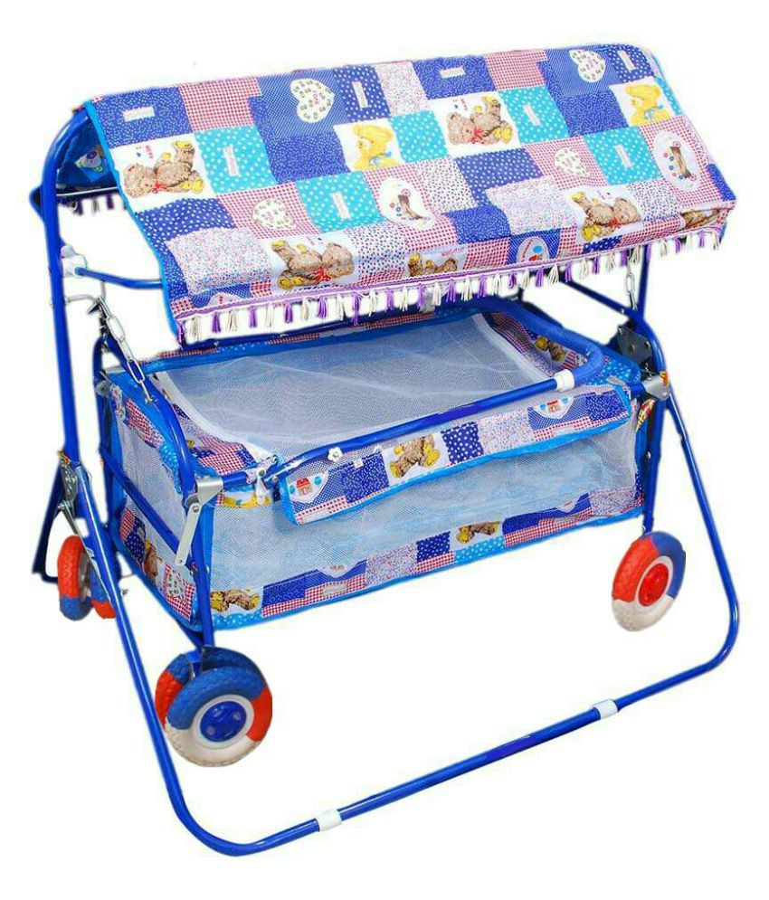Shivaay Trading Co. Multicolour Baby Cradle Cum Stroller with Hood