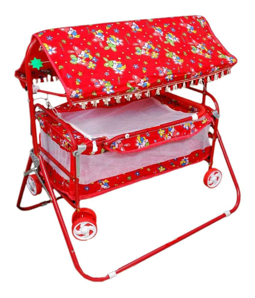 Shivaay Trading Co. Red Baby Bassinet Cum Cot Cum Stroller With Hood.