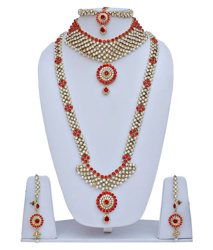 Lucky Jewellery Designer Pearl and Stone Red Wedding Bridal ...