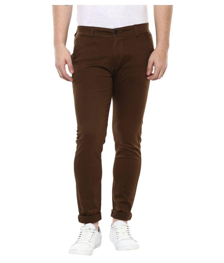 Ansh Fashion Wear Brown Slim Flat Chinos