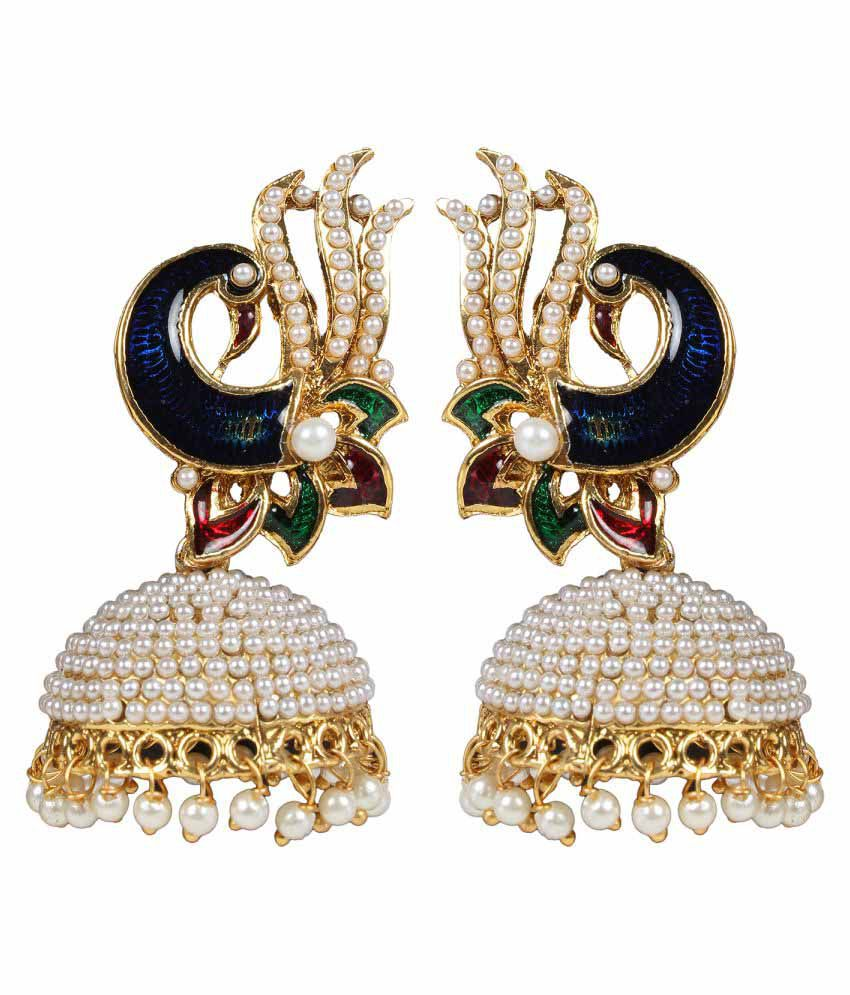 Jewels Gold Multicolour Party Wear Fashion Jhumki for Women