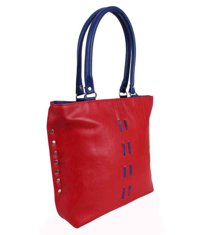 Stellar Red Faux Leather Shoulder Bag