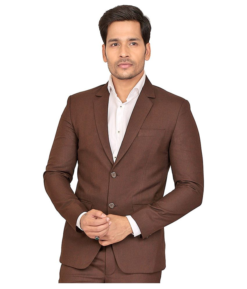 Nu Abc Garments Brown Solid Formal 2 Piece Suits