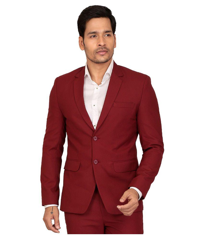 NU ABC Garments Maroon Solid Formal 2 Piece Suits