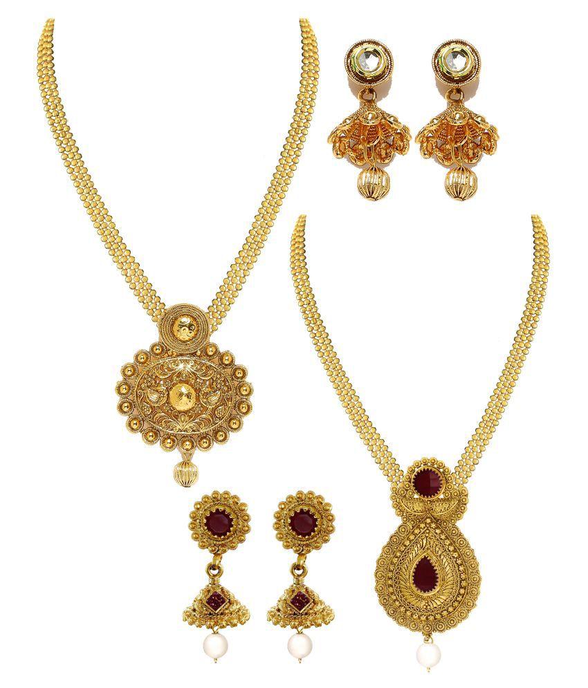 Antique Gold N Jadtar Set: Zaveri Pearls Set Of 2 Antique Gold Necklace Set