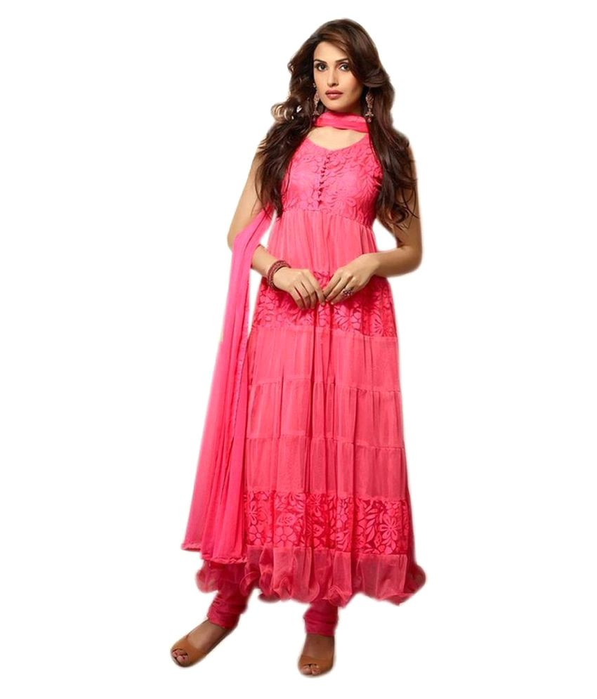 Prabhat Silk Mills Pink Net Dress Material