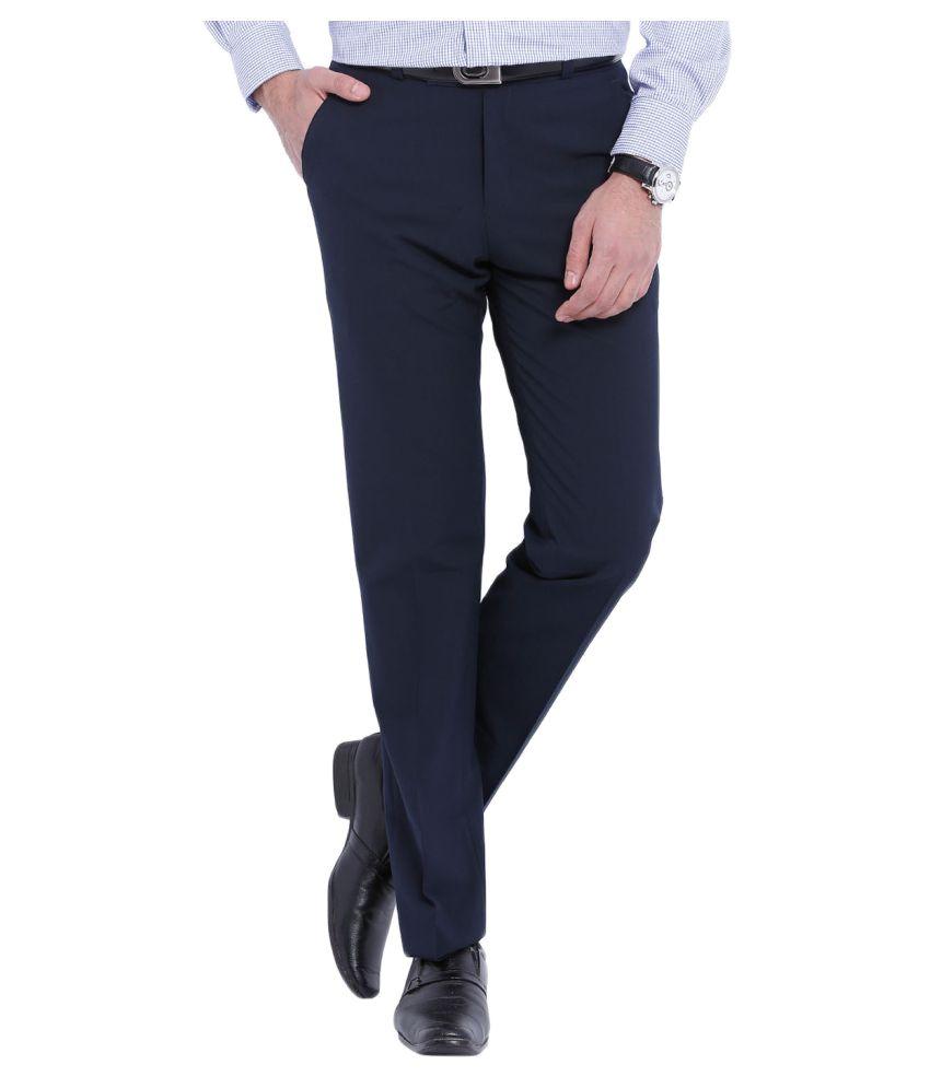 AD & AV Dark Blue Regular Flat Trousers