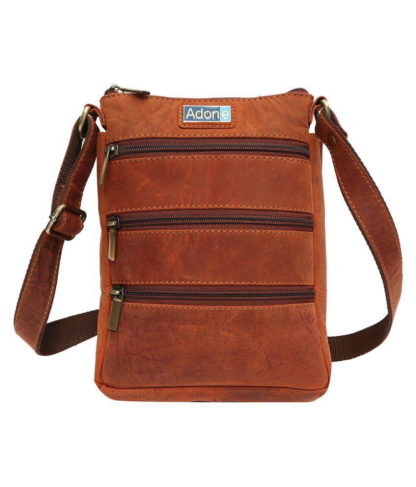 Adone Tan Leather Casual Messenger Bag